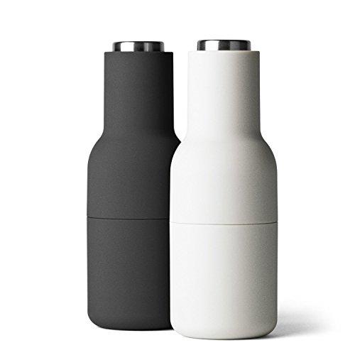 Bottle Grinder Mühle 2er Set Deckel Stahl, asche carbon H 20,5cm Ø 8cm