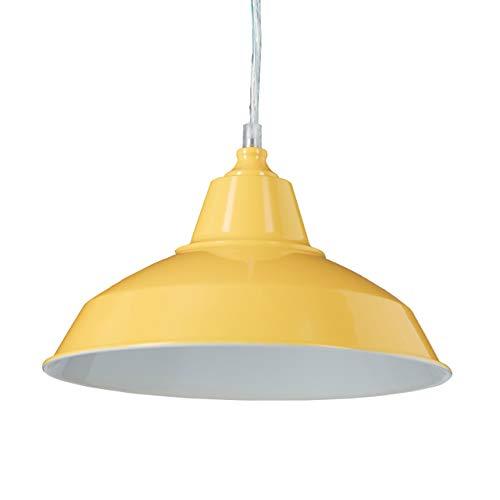 Relaxdays Pendelleuchte Industrie, Deckenleuchte einflammig, Hängelampe Metall und Holz, HxBxT: 112 x 28 x 28 cm, gelb
