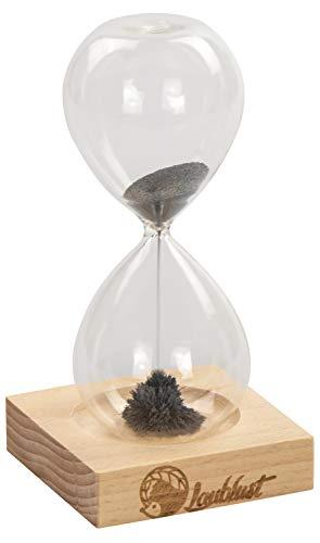 LAUBLUST Magnetische Sanduhr - 16x8x8cm, Natur, Laufzeit ca. 1 Minute - Dekoratives Stundenglas Inkl. Holz-Sockel, Magneten und Magnet-Sand | Wohnzimmer Dekoration | Schreibtisch-Uhr | Geschenk-Idee