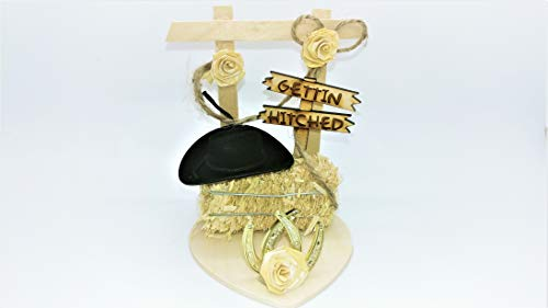 Gettin' Hitched Western Wedding Cake Topper or Table Decoration