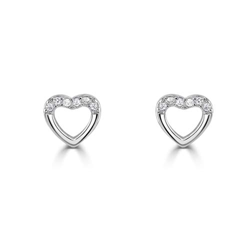 Isabella Silver LONDON Designer Jewellery 925 Sterling Silver Heart CZ Stud Earrings (CZ Topped)