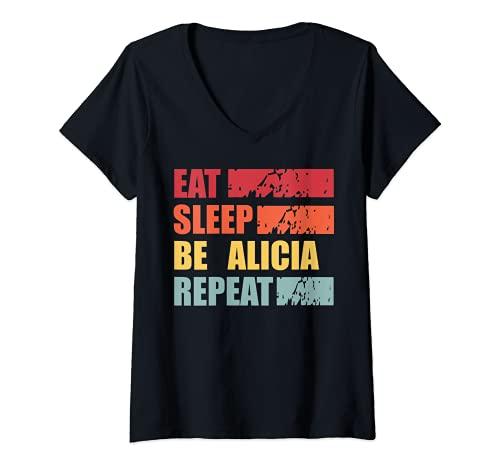 Mujer ALICIA - Camisa con nombre personalizado ALICIA Camiseta Cuello V