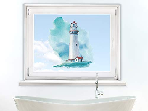 GRAZDesign Fensteraufkleber Leuchtturm maritim, Fensterbild Bad, Fensterdeko Glas Aufkleber für Dusche / 46x40cm
