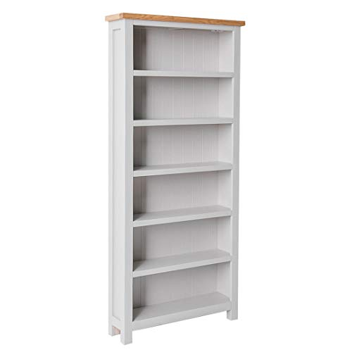 RoselandFurniture Farrow Grey Large Bookcase with Oak Top | Contemporary Painted Solid Wooden Tall Bookshelf with 6 Shelves for Living Room Hallway or Office | Fully Assembled 180 x 80 x 22.5 cm