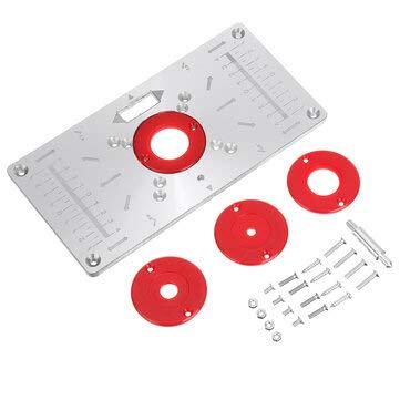 ZOYOSI 235x120x8mm Máquina de Recorte Flip Panel Carpintería Router Tabla Insertar Placa para Makita RT0700c - Blanco