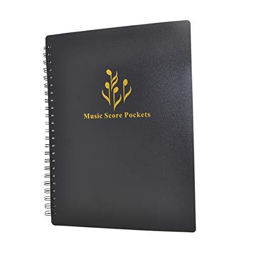 Notenblatt-Ablagemappe - Ordner in A4-Briefgröße,  doppelseitig, Notenmappe für Notenbätter und Dokumente etc. Schwarz