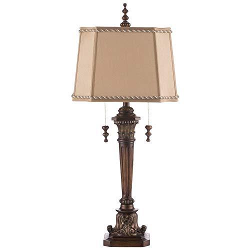 MAONB Vintage Lampe European Resin Double Pull Schalter Tischlampe Tischleuchte American Study Wohnzimmer Edle Schreibtischlampe Leselampe Retro Art Deco Villa Hotel Wohnzimmer Schreibtischlampe