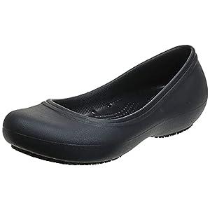 Crocs Women's Flats   Slip Resistant Work Shoes Ballet, Black/Black, 9