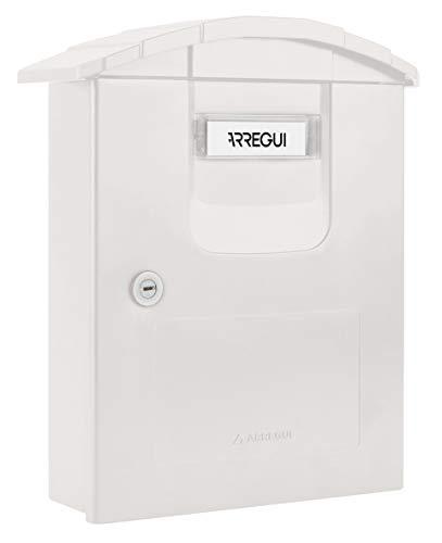 Arregui Costa E5301 Individueller Briefkasten aus hochbeständigem Kunststoff, Größe M (DIN A4 und Zeitschriften), Weiß, 34,5 x 29 x 12 cm