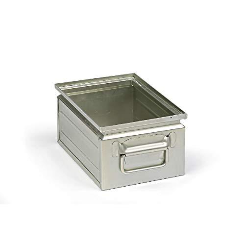 Stapelkasten aus Stahlblech - Inhalt ca. 9 l - verzinkt - Lagerbehälter Lagerbehälter aus Stahl Stahlblech-Stapelkasten Stahlblechkasten Stahlblechkästen Stapelbehälter aus Blech Stapelkasten Stapelkasten aus Stahlblech Stapelkästen Stapelkästen aus