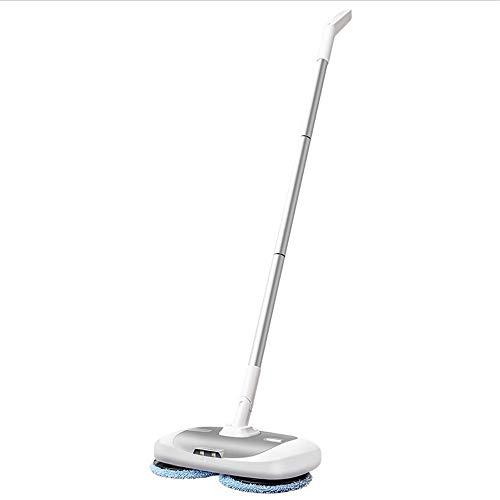 Mop Electric Rotating, Hogar Cordonless Floor Scrubber Handheld Water Spray Interior Limpieza Multifuncional MOP UK Enchufe (Color : White)
