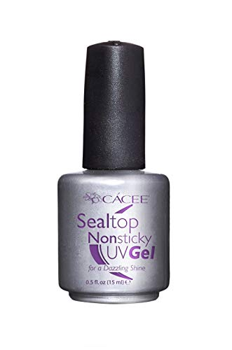 Seal Top Non-sticky Gel Topcoat for Artificial Nails, Finishing Sealer for Acrylic Nails, Builder Gel, Silk Wrap Nails, and Fiberglass Nails, Glass-like Shine, UV + LED by Cacee (0.5 oz)
