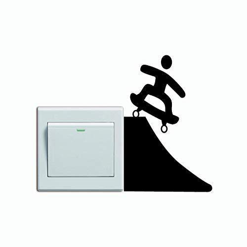 HRUIO Lichtschalter VinylKreative Skate Schalter Aufkleber Cartoon Skateboarder Vinyl Wandaufkleber Wohnkultur 14 * 9 cm