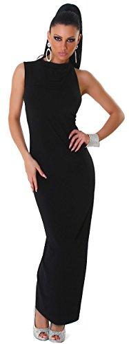 Jela London Damen Maxikleid einfarbig mit tiefem Rückenausschnitt, schwarz Größe 36 38