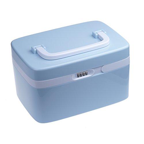 Vinteky® Medizinbox Erste Hilfe Kasten 27,8* 19,7 * 16 cm Aufbewahrungsbox mit Griff First Aid box - blau