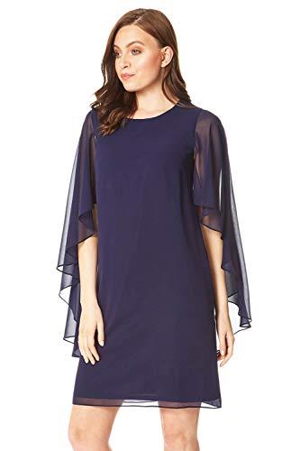 Roman Originals Damen Kleid mit Cape-Ärmeln aus Chiffon - Damen fließende Kleider elegant abends Hochzeiten Partys Brautmutter Pferderennen - Midnight Blue - Größe 46