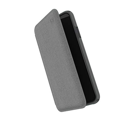 Speck Products Presidio Folio iPhone Xs Max Case, Heathered Chelsea Grey/Chelsea Grey/Graphite Grey