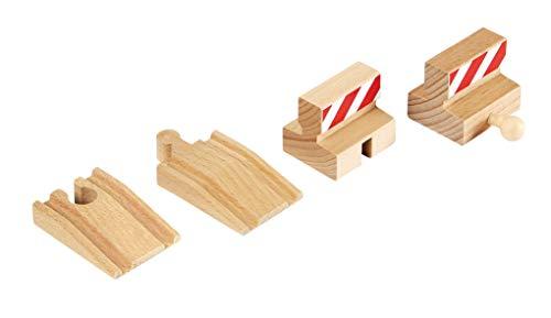 BRIO World - 33385 - Lot de 2 Rampes et 2 Butoirs - Accessoire pour circuit de train en bois - Jouet pour garçons et filles à partir de 3 ans