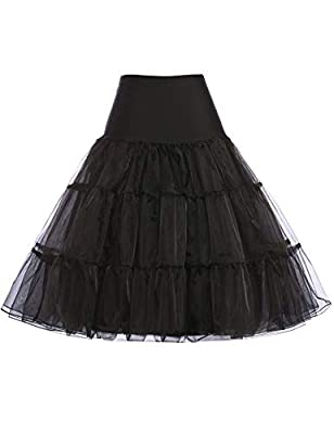 GRACE KARIN Women's Crinoline Wonderful Petticoat 25 Inch Length Underskirt for Swing Dress (Black,S) from