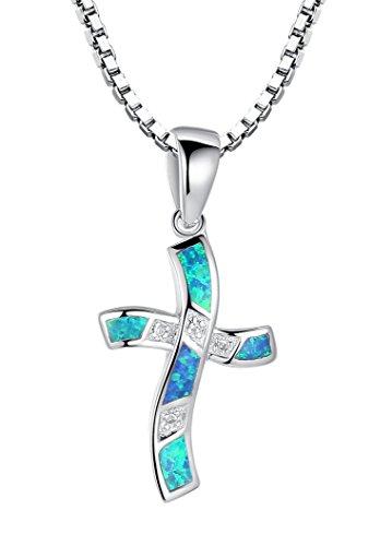 Arco Iris Schmuck Damen-Halskette mit Anhänger Kreuz Sterling Silber mit Blauer Opal und Zirkonia 45 cm