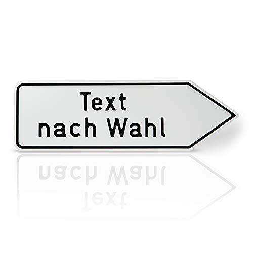 Betriebsausstattung24® Individuell gefertigtes Wegweiser-Schild | Rechtsweisend | Aluminium geprägt | Ecken abgerundet (60,0 x 25,0 cm, Weiß)