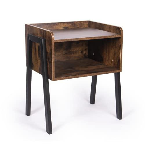 Mesa auxiliar rústica retro | Consola y mesita de noche | Mesa auxiliar para sala de estar | Mesa de centro y organización vintage | M&W