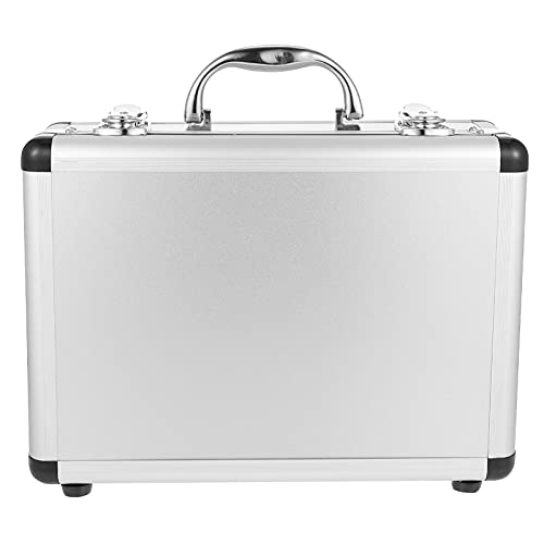 Angoily Maletín de Aluminio Duro Caja de Herramientas Caja de Almacenamiento Caja de Transporte Cajas de Vuelo Organizador de Código Bloqueable para Equipaje Artesano Viaje Efectivo Plata
