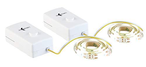 Lunartec Schrankleuchte: 2er-Set Indoor-LED-Streifen, 18 LEDs, Schalter, Batteriebetrieb, 60 cm (LED Streifen mit Batterie)