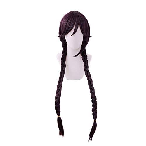 LBBZJM De Halloween Peluca de Danganronpa Touko Fukawa Toko púrpura Oscuro largas Trenzas Peluca Cosplay Dangan Ronpa Calor sintético Resistente Pelucas de Pelo