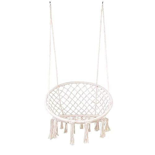 HYISHION Nordic Style Tassel der Oszillation Hammock Chair Seil Swing Outdoor Indoor Sitzfläche Garten Round (Farbe: Weiß) SKYJIE