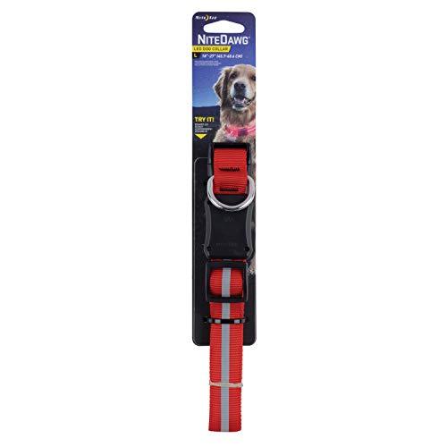Nite Ize Signalband NiteDawg LED Dog Collar Banda de señal, Rojo, Large 🔥