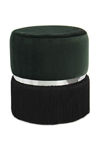 V Vascavi Sitzpouf in runder Form | als Schminktisch Sitzhocker Pouf Sitzpouf Pouf Schminkhocker | Dunkelgrün/Schwarz/Silber