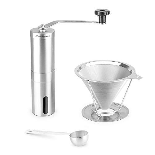 Redlemon Molino de Café Manual con Filtro de Acero Inoxidable y Cuchara Medidora (Kit de 3 Piezas), Tipo de Molido Ajustable, para Métodos de extracción Chemex, Espresso y...