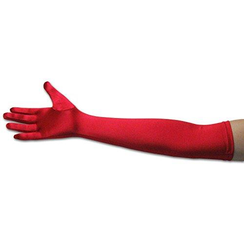MAKFORT Lang Handschuhe Satinhandschuhe für Hochzeit Abendkleid Halloween Kostüm Rot