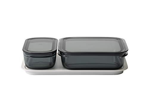 ライクイット (like-it) キッチン収納 調理ができる 保存容器 Mサイズ1個 グレー + Lサイズ1個 グレー トレーL ホワイト FC-036 冷凍保存可 食器洗い乾燥機可