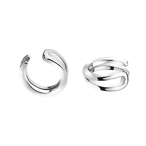 SOFIA MILANI - Damen 2er Set Fake Piercing Manschette Ohr - Aus echtem 925 Sterling Silber - 20743