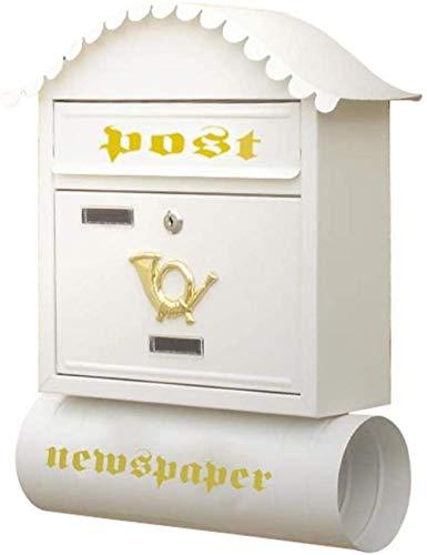 Briefkasten/Postkasten, Dekorative Wandmontage abschließbar für außen/mit Zeitungsröhre/rustikaler Stil/weiß
