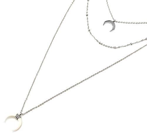 Oh My Shop cc2439F–Collana Triple fine Catena con Luna, Sfere Acciaio Argento e Corno Resina Bianca