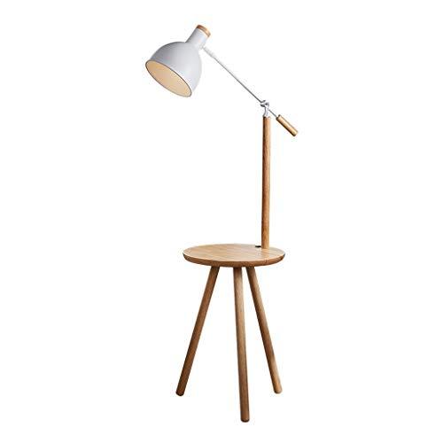 PAN Beistelltisch aus Naturholz mit angebrachter LED-Lampe - Moderner Mid-Century-Beistelltisch for Wohnzimmer - Nachttisch mit USB-Anschlüssen - Nachttisch mit Stativ