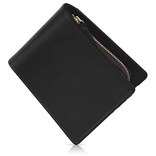 [Xviita](エクスビータ) 財布 メンズ 二つ折り 財布 本革 イタリアンレザー メデュセオラックス 品質証明書 こだわり抜いた美しさ 黒 (ブラック)
