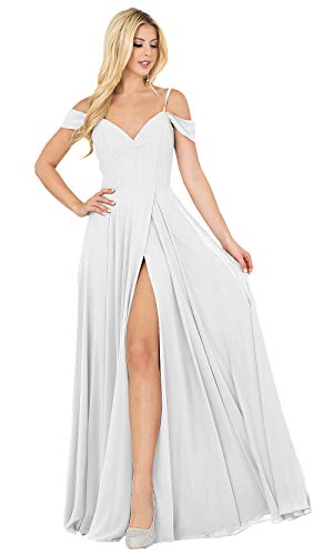 SOLODISH Sexy Off The Shoulder Pleated Chiffon Slit Beach Wedding Dress Long A-Line Formal Bridal Gowns (White,4)