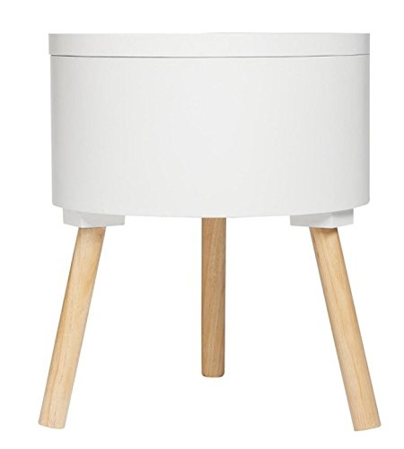 PEGANE Table café avec Coffre de Rangement Blanc - Dim : L38 x l38 x H45 cm