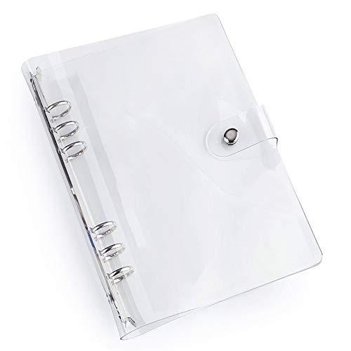 Langing, Klare Notizbuch-Hülle, aus weichem PVC, A5, 6 Abheftlöcher, nachfüllbar, Notebook-Schutz, Ringbuch A7