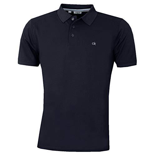 Calvin Klein Campus Herren Polo-Shirt mit 3 Knöpfen, leicht, gerippter Kragen Gr. M, navy