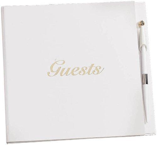 Darice Gold Etched Wedding Anniversary Party Guest Book with Pen