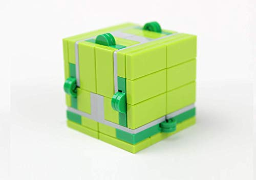 Magic Folding Infinity Cube Fidget Toy (Lime Green) Built with Toy Bricks