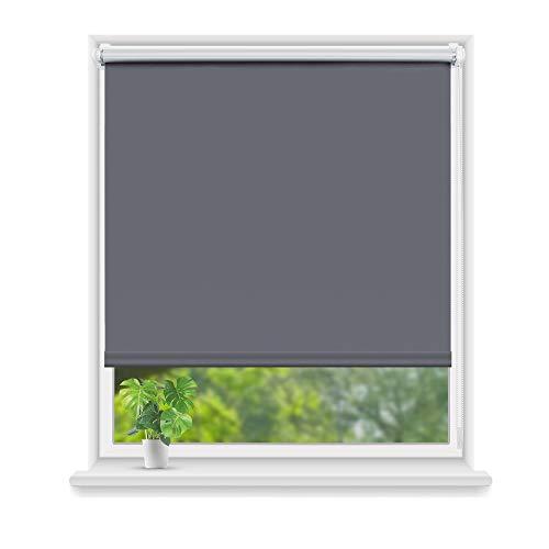Eurohome Thermo Rollo Verdunkelungsrollo 95X160cm (Stoffbreite 91 cm) Grau Klemmfix ohne Bohren für Fenster