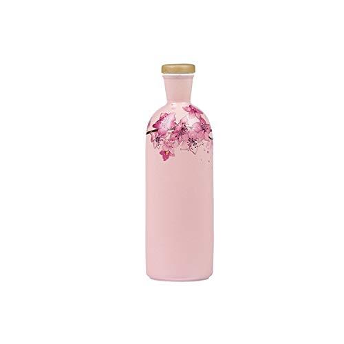 CHUJIAN Botella de vino de cerámica cargada tarro de vino decoración creativa frasco de cadera chino sellado botella vacía decoración del hogar 500 ml China (capacidad: rosa)