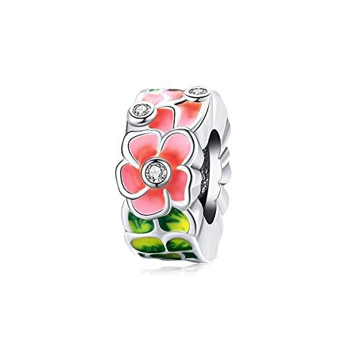 Primavera Coloridas Aves Flores Hojas Encantos Cuentas De Plata De Ley 925 Colgante Pulsera Collar DIY Fabricación De Joyas D2