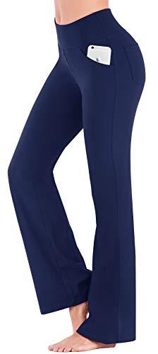 IUGA Bootcut Yoga Pants with Pockets for Women High Waist Workout Bootleg Pants Tummy Control, 4 Pockets Work Pants for Women Dark Blue